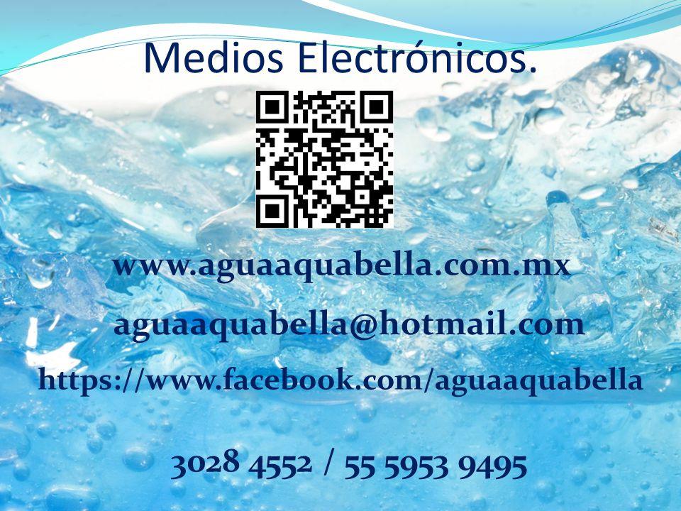 Medios Electrónicos. www.aguaaquabella.com.mx https://www.facebook.com/aguaaquabella 3028 4552 / 55 5953 9495 aguaaquabella@hotmail.com