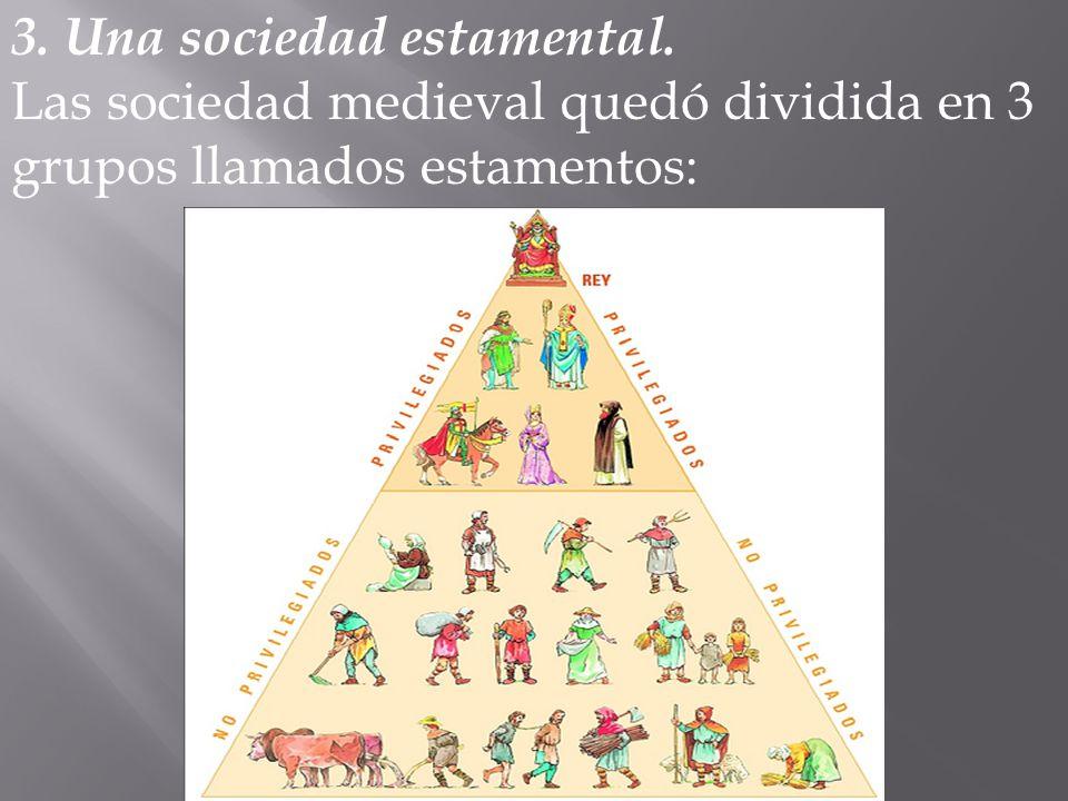 3. Una sociedad estamental. Las sociedad medieval quedó dividida en 3 grupos llamados estamentos: