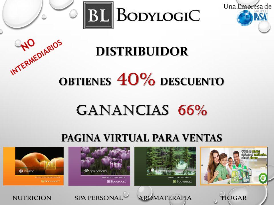 Una Empresa deDISTRIBUIDOR OBTIENES 40% DESCUENTO GANANCIAS 66% PAGINA VIRTUAL PARA VENTAS