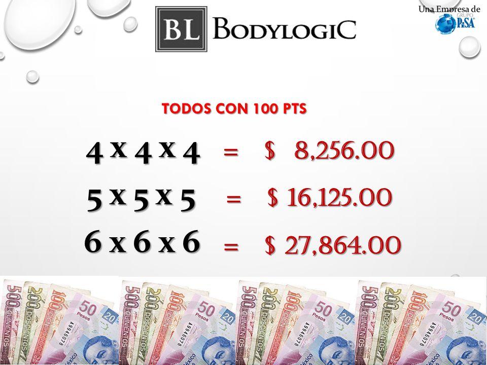 4 x 4 x 4 = $ 8,256.00 5 x 5 x 5 = $ 16,125.00 6 x 6 x 6 = $ 27,864.00 TODOS CON 100 PTS