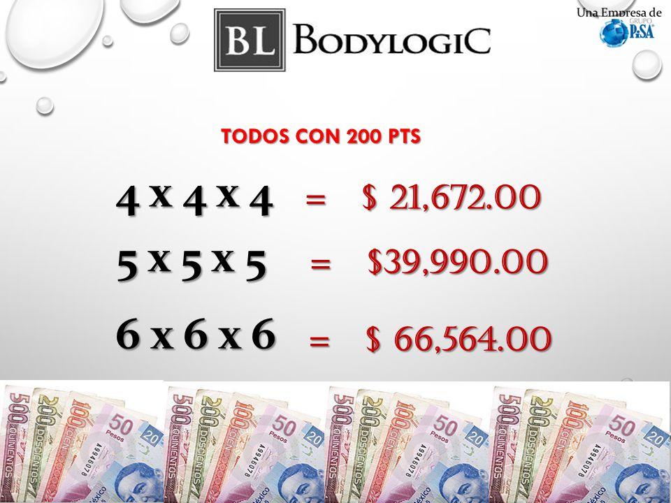 4 x 4 x 4 = $ 21,672.00 5 x 5 x 5 = $39,990.00 = $39,990.00 6 x 6 x 6 = $ 66,564.00 TODOS CON 200 PTS