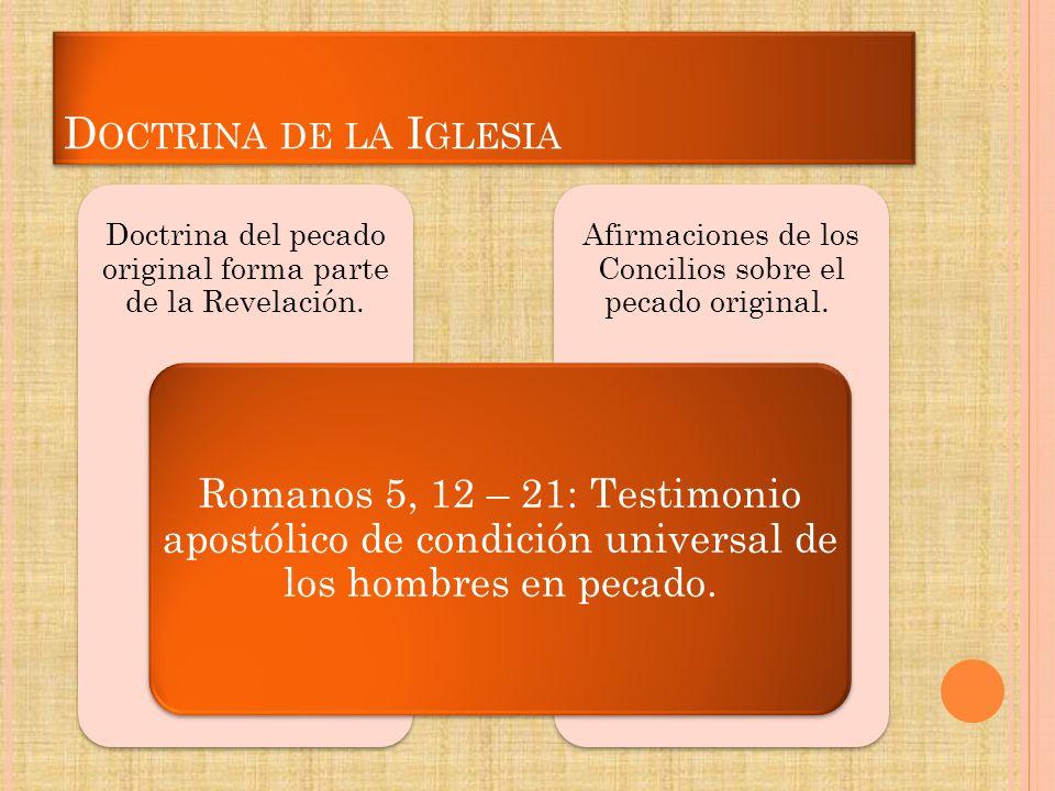 D OCTRINA DE LA I GLESIA Afirmaciones de los Concilios sobre el pecado original. Doctrina del pecado original forma parte de la Revelación. Romanos 5,
