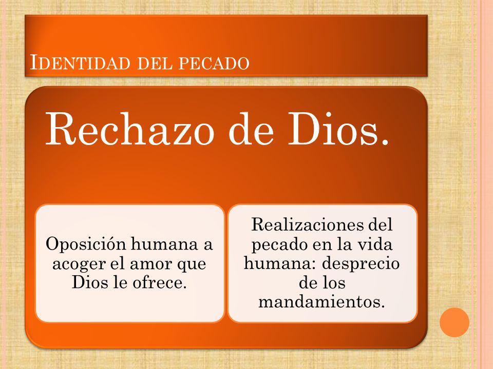 I DENTIDAD DEL PECADO Rechazo de Dios. Oposición humana a acoger el amor que Dios le ofrece. Realizaciones del pecado en la vida humana: desprecio de