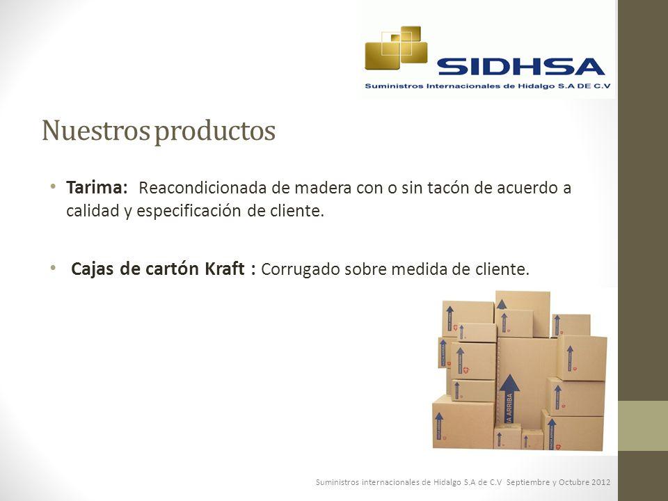 Nuestros productos Tarima: Reacondicionada de madera con o sin tacón de acuerdo a calidad y especificación de cliente. Cajas de cartón Kraft : Corruga
