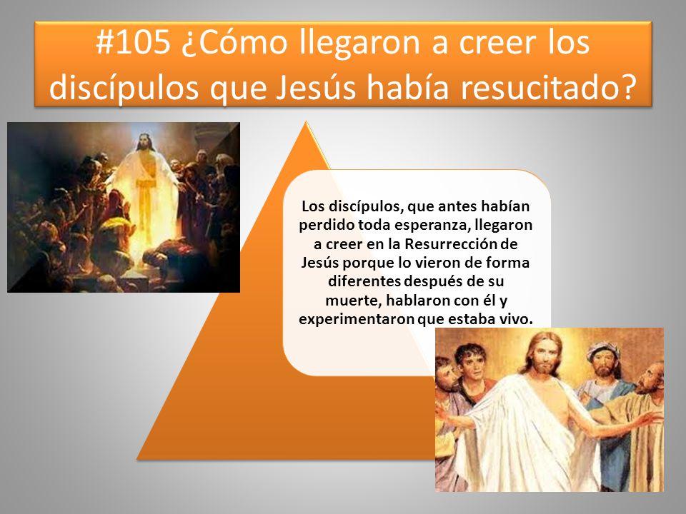 #105 ¿Cómo llegaron a creer los discípulos que Jesús había resucitado? Los discípulos, que antes habían perdido toda esperanza, llegaron a creer en la