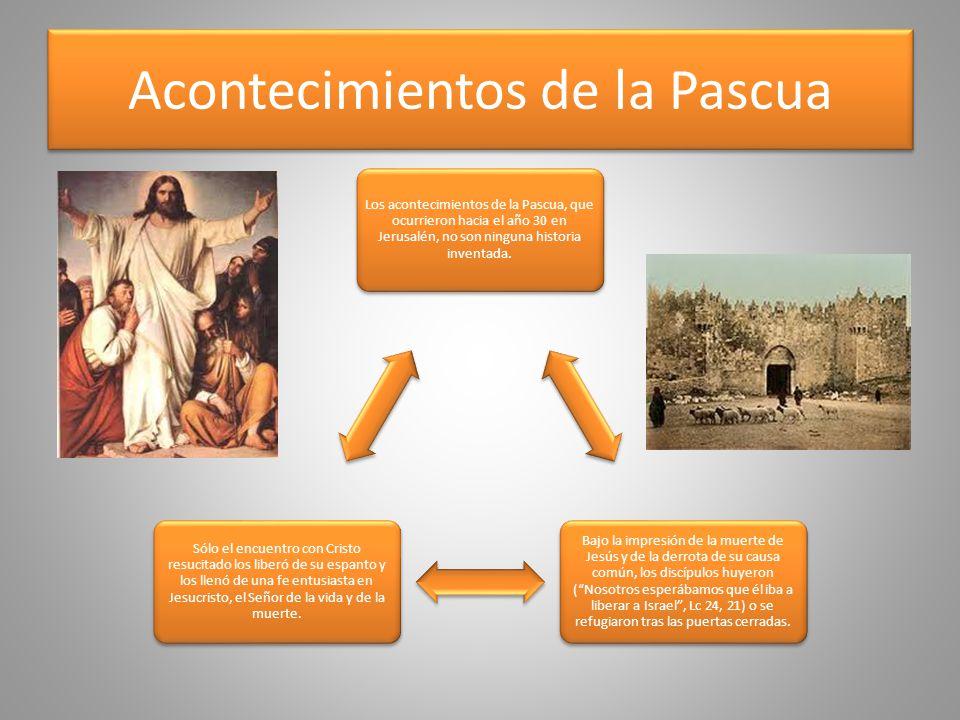 Acontecimientos de la Pascua Los acontecimientos de la Pascua, que ocurrieron hacia el año 30 en Jerusalén, no son ninguna historia inventada. Bajo la