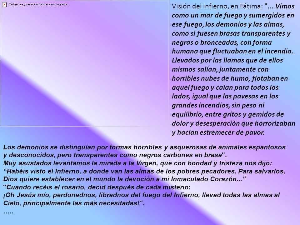 Visión del infierno, en Fátima: ...