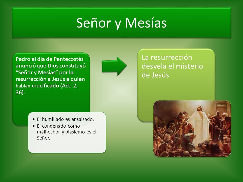 Señor y Mesías Pedro el día de Pentecostés anunció que Dios constituyó Señor y Mesías por la resurrección a Jesús a quien habían crucificado (Act. 2,