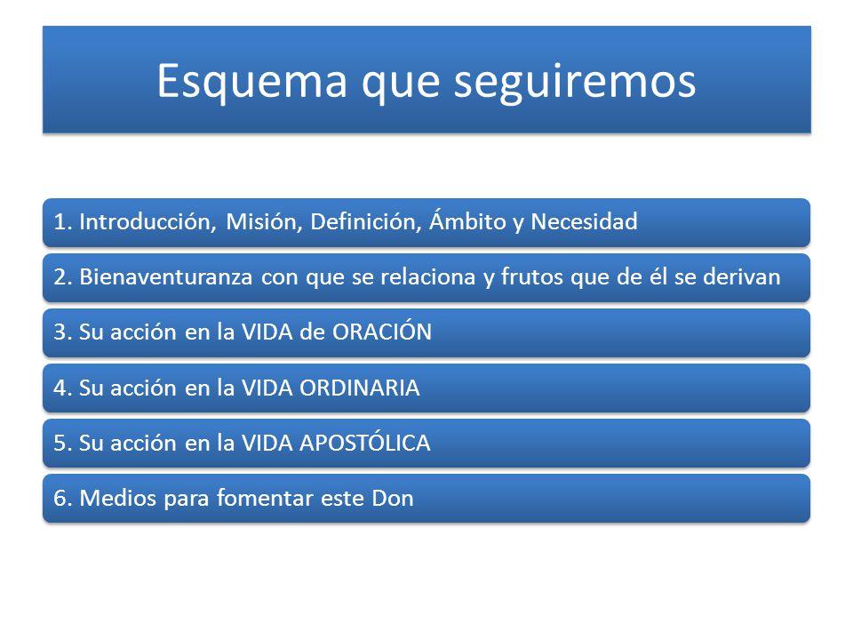 Esquema que seguiremos 1. Introducción, Misión, Definición, Ámbito y Necesidad2. Bienaventuranza con que se relaciona y frutos que de él se derivan3.