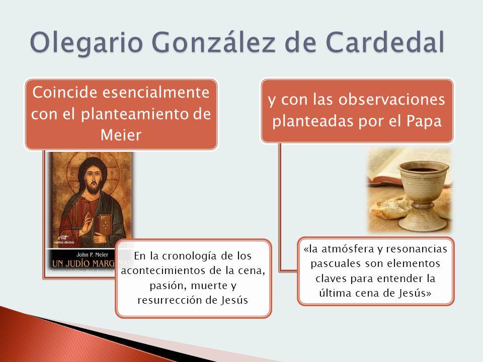 Coincide esencialmente con el planteamiento de Meier En la cronología de los acontecimientos de la cena, pasión, muerte y resurrección de Jesús y con