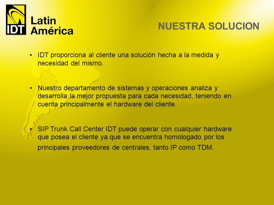 IDT proporciona al cliente una solución hecha a la medida y necesidad del mismo. Nuestro departamento de sistemas y operaciones analiza y desarrolla l