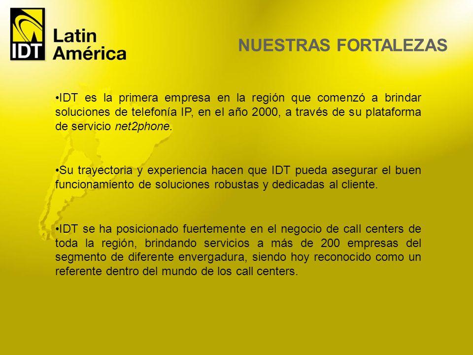 IDT es la primera empresa en la región que comenzó a brindar soluciones de telefonía IP, en el año 2000, a través de su plataforma de servicio net2pho
