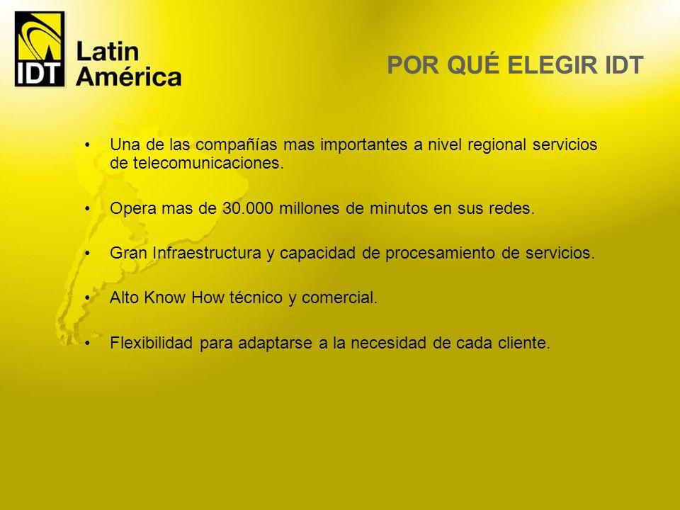 Una de las compañías mas importantes a nivel regional servicios de telecomunicaciones. Opera mas de 30.000 millones de minutos en sus redes. Gran Infr