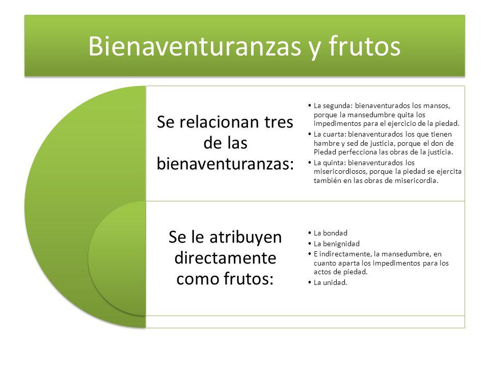 Bienaventuranzas y frutos Se relacionan tres de las bienaventuranzas: Se le atribuyen directamente como frutos: La segunda: bienaventurados los mansos
