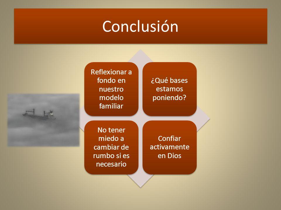Conclusión Reflexionar a fondo en nuestro modelo familiar ¿Qué bases estamos poniendo.