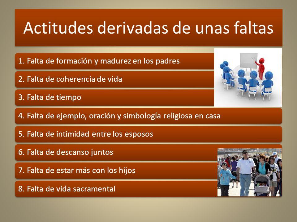 Actitudes derivadas de unas faltas 1.Falta de formación y madurez en los padres2.