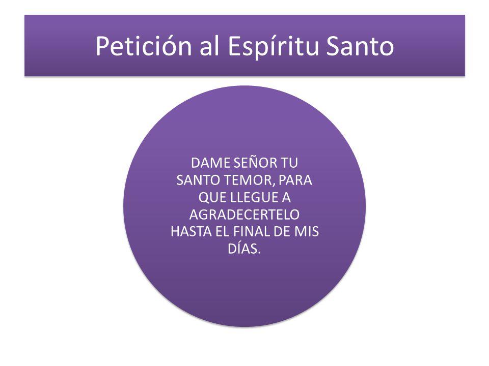 Petición al Espíritu Santo DAME SEÑOR TU SANTO TEMOR, PARA QUE LLEGUE A AGRADECERTELO HASTA EL FINAL DE MIS DÍAS.