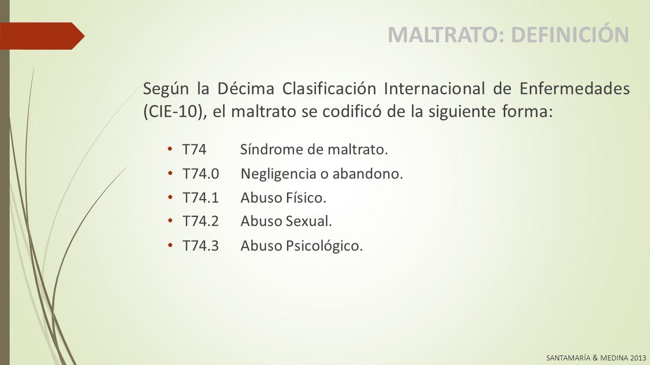 SANTAMARÍA & MEDINA 2013 MALTRATO: DEFINICIÓN Según el Código Penal Panameño: 1.Causar, permitir o hacer que se les cause daño físico, mental o emocional, incluyendo lesiones físicas ocasionadas por castigos corporales.