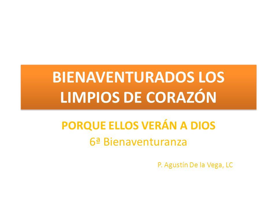 PORQUE ELLOS VERÁN A DIOS 6ª Bienaventuranza P. Agustín De la Vega, LC BIENAVENTURADOS LOS LIMPIOS DE CORAZÓN
