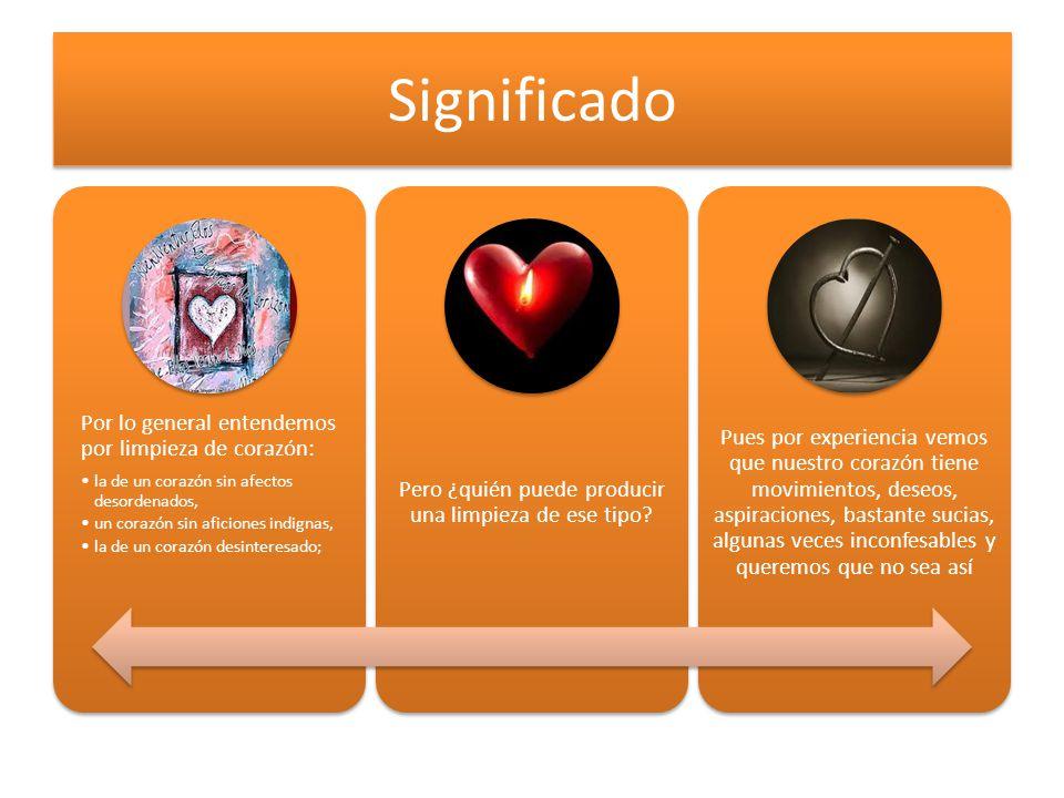 Significado Por lo general entendemos por limpieza de corazón: la de un corazón sin afectos desordenados, un corazón sin aficiones indignas, la de un