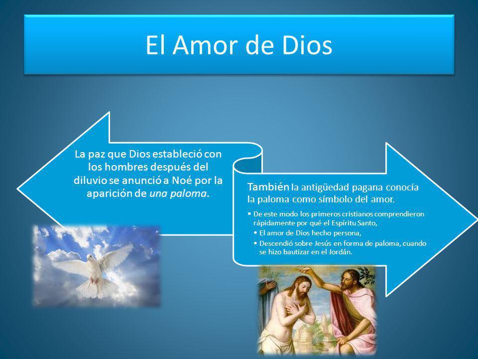 El Amor de Dios La paz que Dios estableció con los hombres después del diluvio se anunció a Noé por la aparición de una paloma. También la antigüedad