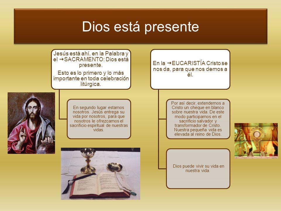 Dios está presente Jesús está ahí, en la Palabra y el SACRAMENTO: Dios está presente. Esto es lo primero y lo más importante en toda celebración litúr