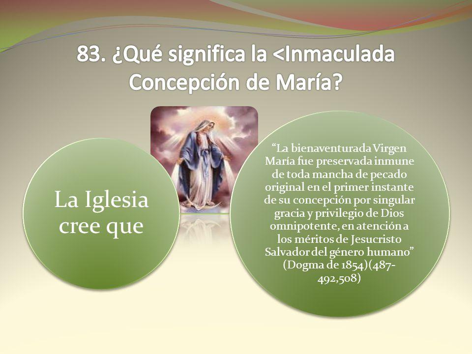 La Iglesia cree que La bienaventurada Virgen María fue preservada inmune de toda mancha de pecado original en el primer instante de su concepción por