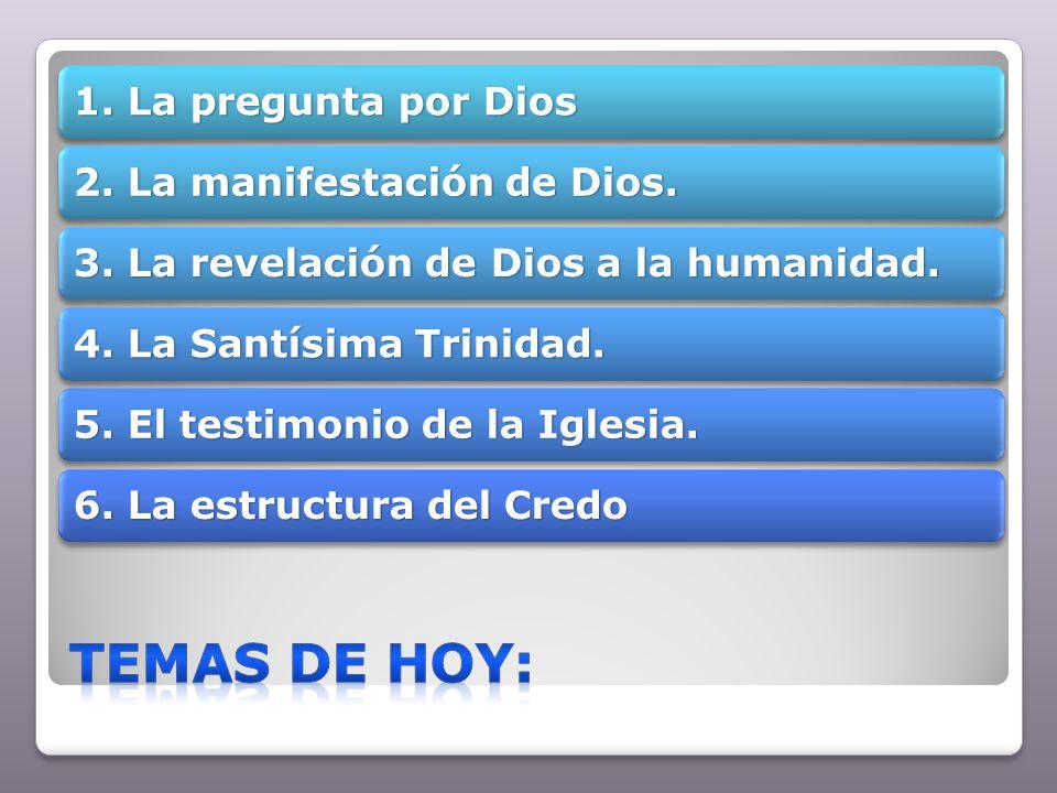 1. La pregunta por Dios 2. La manifestación de Dios. 3. La revelación de Dios a la humanidad. 4. La Santísima Trinidad. 5. El testimonio de la Iglesia