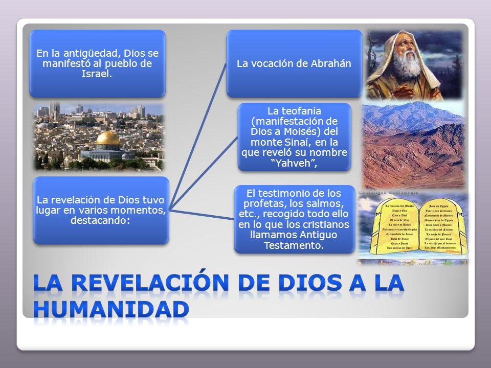 En la antigüedad, Dios se manifestó al pueblo de Israel. La revelación de Dios tuvo lugar en varios momentos, destacando: La vocación de Abrahán La te