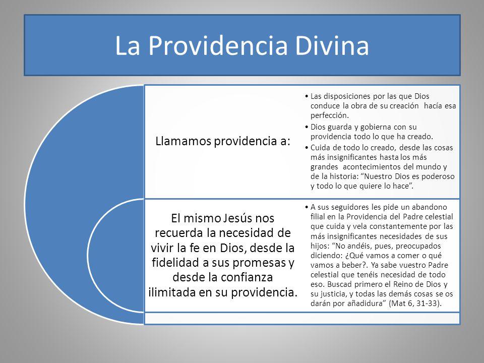 La Providencia Divina Llamamos providencia a: El mismo Jesús nos recuerda la necesidad de vivir la fe en Dios, desde la fidelidad a sus promesas y des