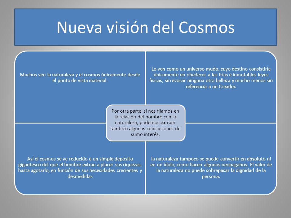 Nueva visión del Cosmos Muchos ven la naturaleza y el cosmos únicamente desde el punto de vista material. Lo ven como un universo mudo, cuyo destino c