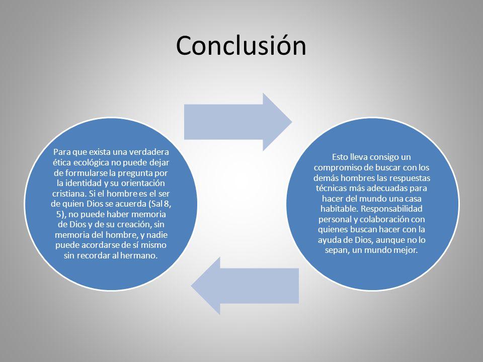 Conclusión Para que exista una verdadera ética ecológica no puede dejar de formularse la pregunta por la identidad y su orientación cristiana. Si el h