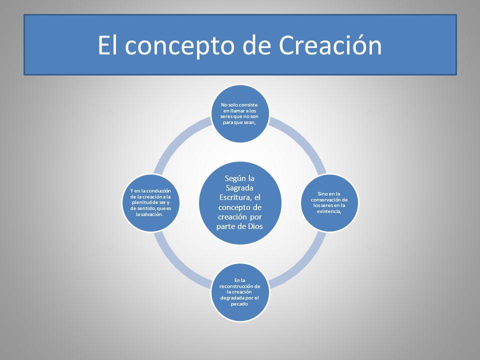 El concepto de Creación Según la Sagrada Escritura, el concepto de creación por parte de Dios No solo consiste en llamar a los seres que no son para q