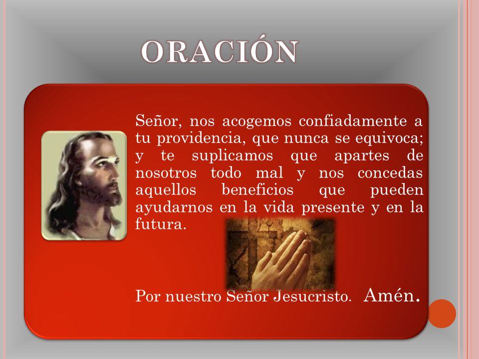 Señor, nos acogemos confiadamente a tu providencia, que nunca se equivoca; y te suplicamos que apartes de nosotros todo mal y nos concedas aquellos be
