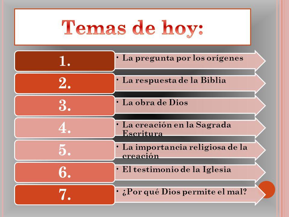 La pregunta por los orígenes 1. La respuesta de la Biblia 2. La obra de Dios 3. La creación en la Sagrada Escritura 4. La importancia religiosa de la