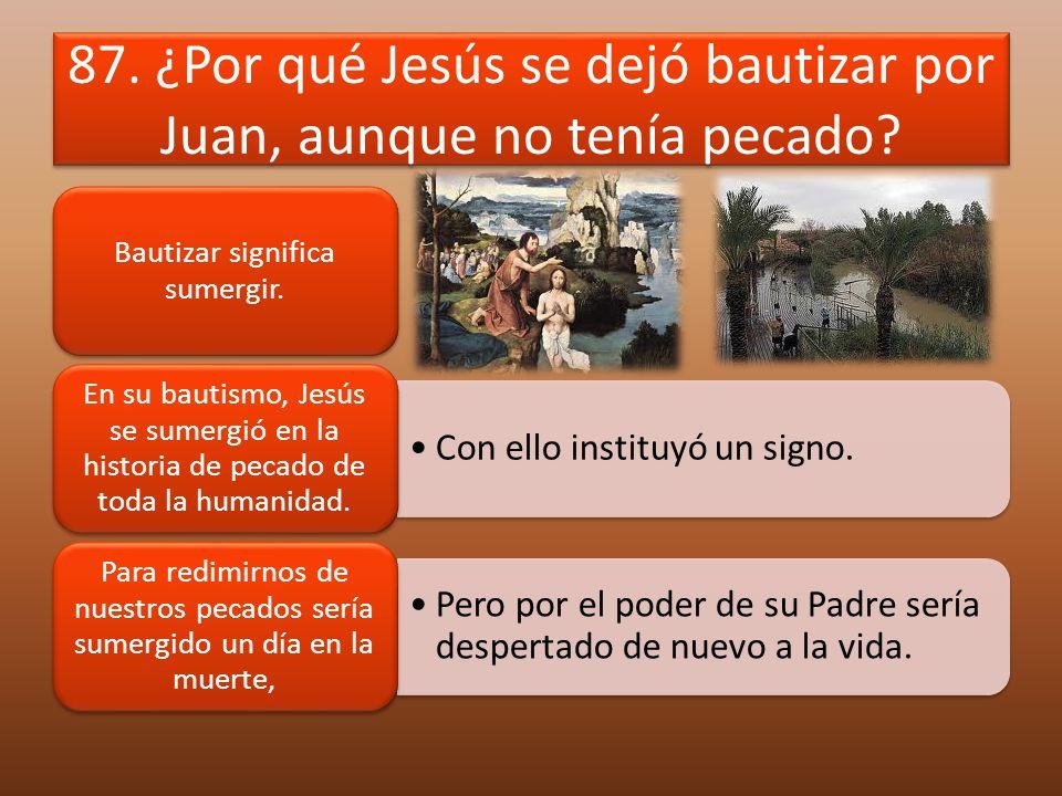 87. ¿Por qué Jesús se dejó bautizar por Juan, aunque no tenía pecado? Bautizar significa sumergir. Con ello instituyó un signo. En su bautismo, Jesús