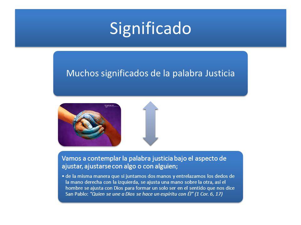 Significado Muchos significados de la palabra Justicia Vamos a contemplar la palabra justicia bajo el aspecto de ajustar, ajustarse con algo o con alg