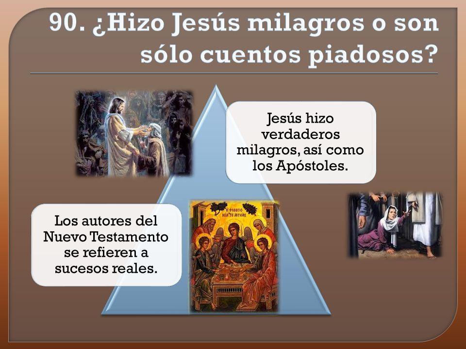 Ya las fuentes más antiguas nos informan de numerosos milagros, incluso de resurrecciones de muertos, como confirmación del anuncio de Jesús: Pero si yo expulso los demonios por el Espíritu de Dios, es que ha llegado a vosotros el reino de Dios (Mt 2,28) Los milagros sucedieron en lugares públicos, las personas afectadas eran conocidas a veces incluso por su nombre por ejemplo: El ciego Bartimeo (Mc 10,46-52) O la suegra de Pedro (Mt 8,14-15)
