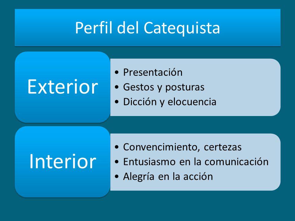 Perfil del Catequista Presentación Gestos y posturas Dicción y elocuencia Exterior Convencimiento, certezas Entusiasmo en la comunicación Alegría en la acción Interior