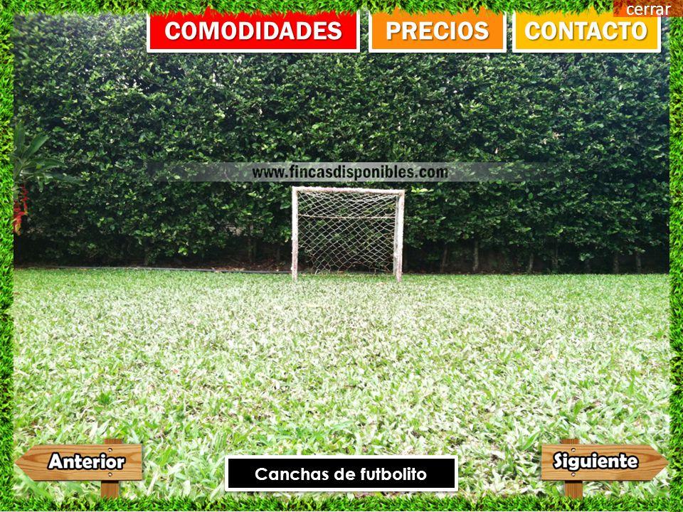Canchas de futbolito CONTACTO PRECIOS COMODIDADES cerrar
