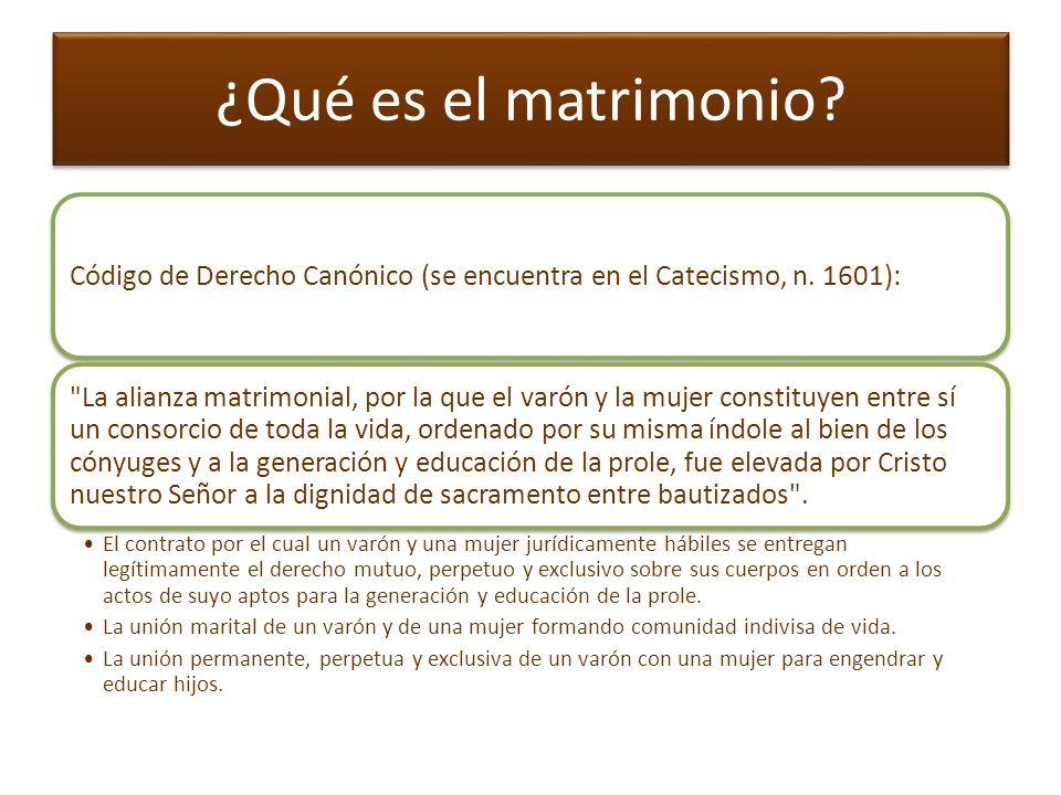 * Resumiendo El matrimonio es: Una institución natural que, de por sí, es indisoluble, al menos internamente.