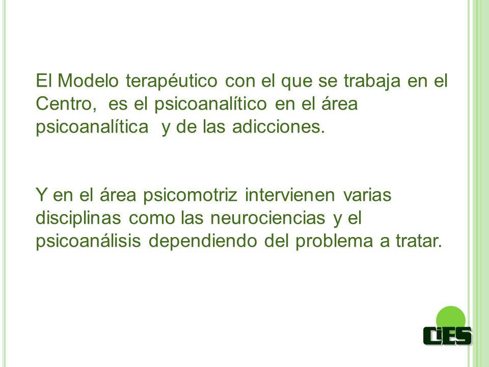 El Modelo terapéutico con el que se trabaja en el Centro, es el psicoanalítico en el área psicoanalítica y de las adicciones. Y en el área psicomotriz