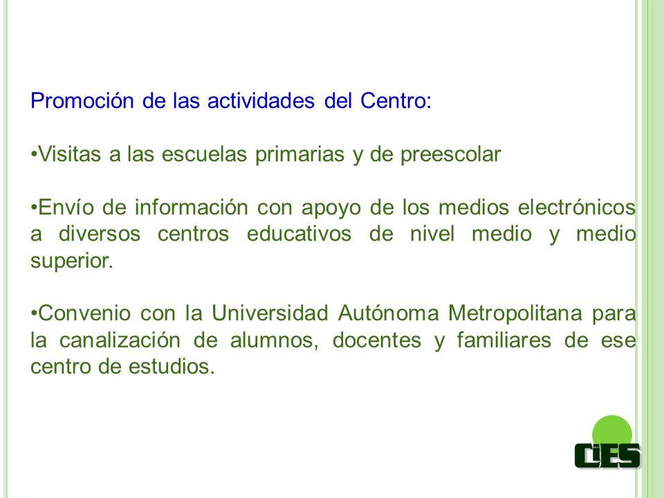 Promoción de las actividades del Centro: Visitas a las escuelas primarias y de preescolar Envío de información con apoyo de los medios electrónicos a