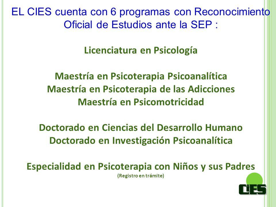 EL CIES cuenta con 6 programas con Reconocimiento Oficial de Estudios ante la SEP : Licenciatura en Psicología Maestría en Psicoterapia Psicoanalítica
