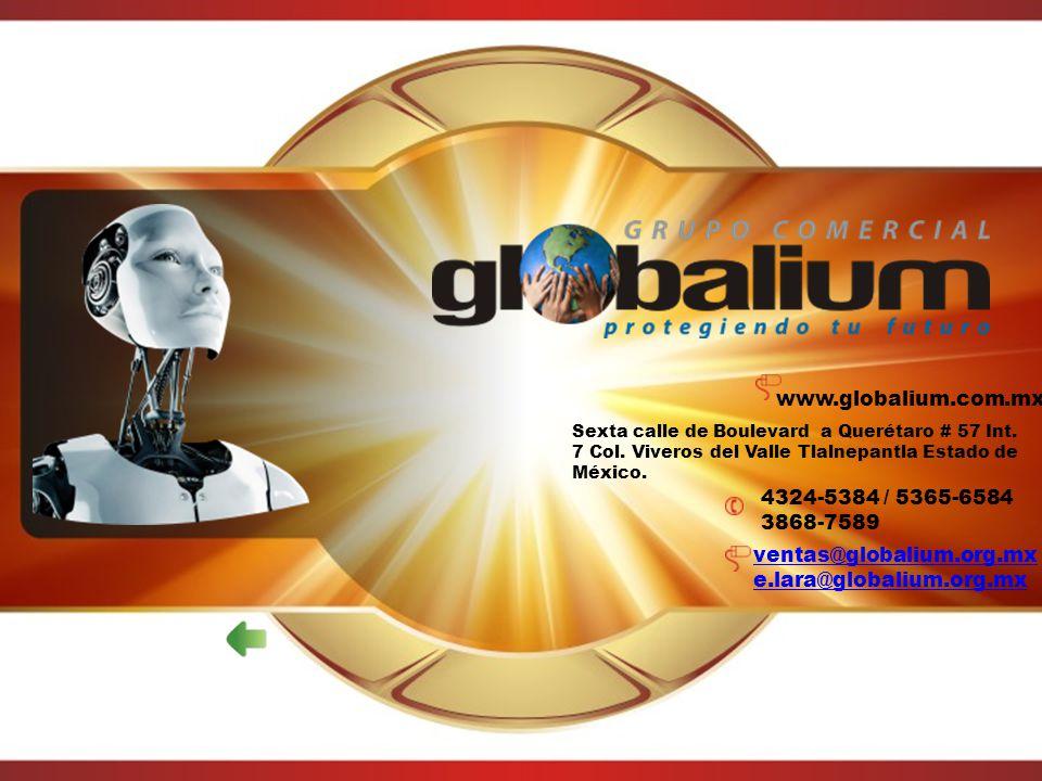 www.globalium.com.mx Sexta calle de Boulevard a Querétaro # 57 Int. 7 Col. Viveros del Valle Tlalnepantla Estado de México. 4324-5384 / 5365-6584 3868