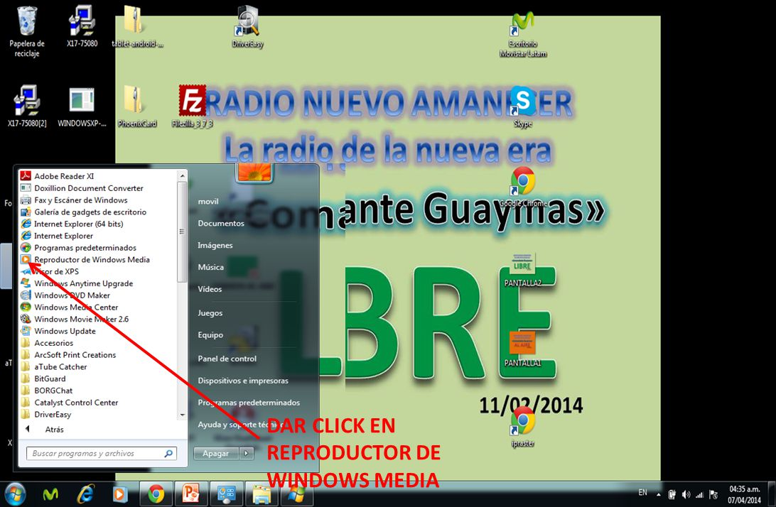 DAR CLICK EN REPRODUCTOR DE WINDOWS MEDIA
