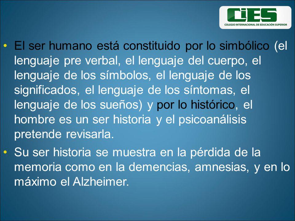 El ser humano está constituido por lo simbólico (el lenguaje pre verbal, el lenguaje del cuerpo, el lenguaje de los símbolos, el lenguaje de los signi