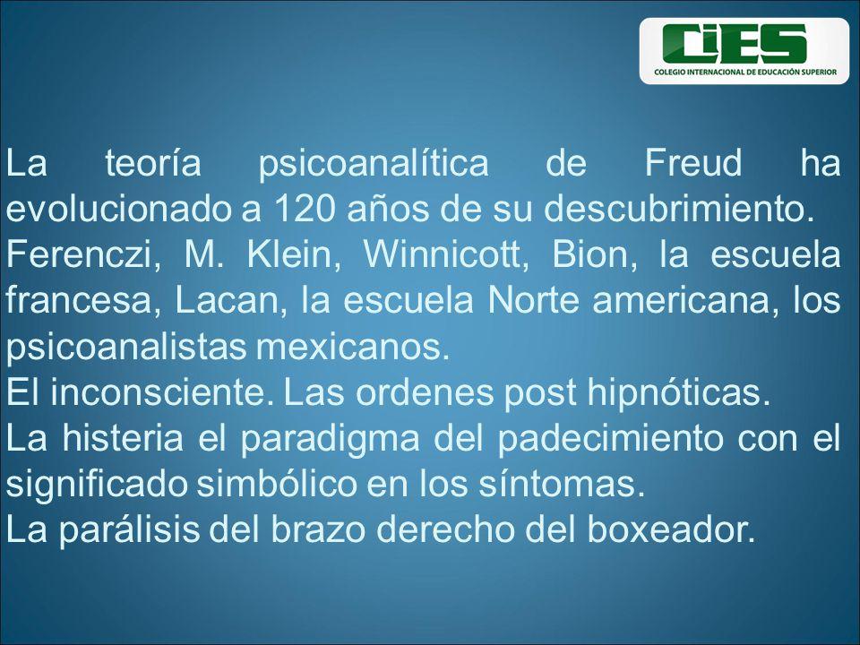 La teoría psicoanalítica de Freud ha evolucionado a 120 años de su descubrimiento. Ferenczi, M. Klein, Winnicott, Bion, la escuela francesa, Lacan, la