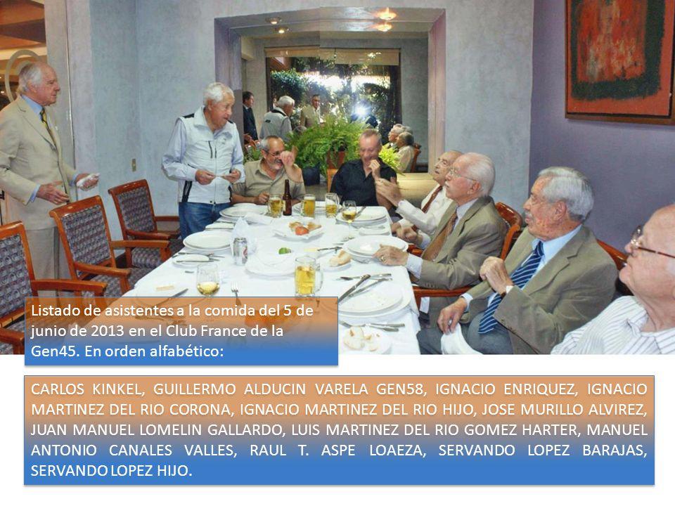 CARLOS KINKEL, GUILLERMO ALDUCIN VARELA GEN58, IGNACIO ENRIQUEZ, IGNACIO MARTINEZ DEL RIO CORONA, IGNACIO MARTINEZ DEL RIO HIJO, JOSE MURILLO ALVIREZ, JUAN MANUEL LOMELIN GALLARDO, LUIS MARTINEZ DEL RIO GOMEZ HARTER, MANUEL ANTONIO CANALES VALLES, RAUL T.