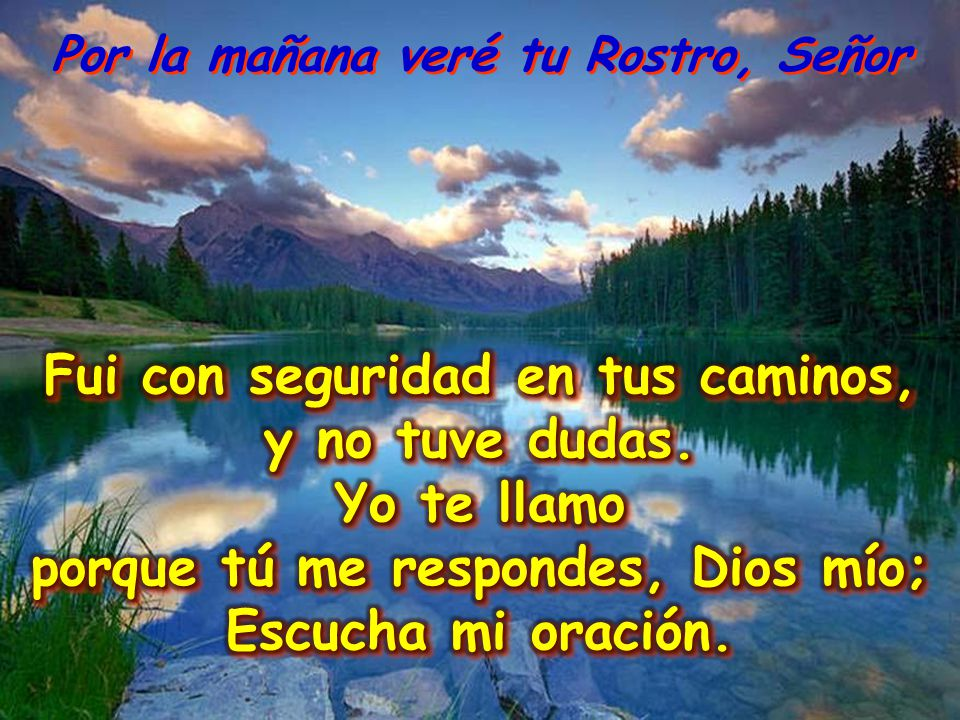 Señor, escucha mi llamada, atiende a mi oración; escucha mi súplica. Por la mañana veré tu Rostro, Señor